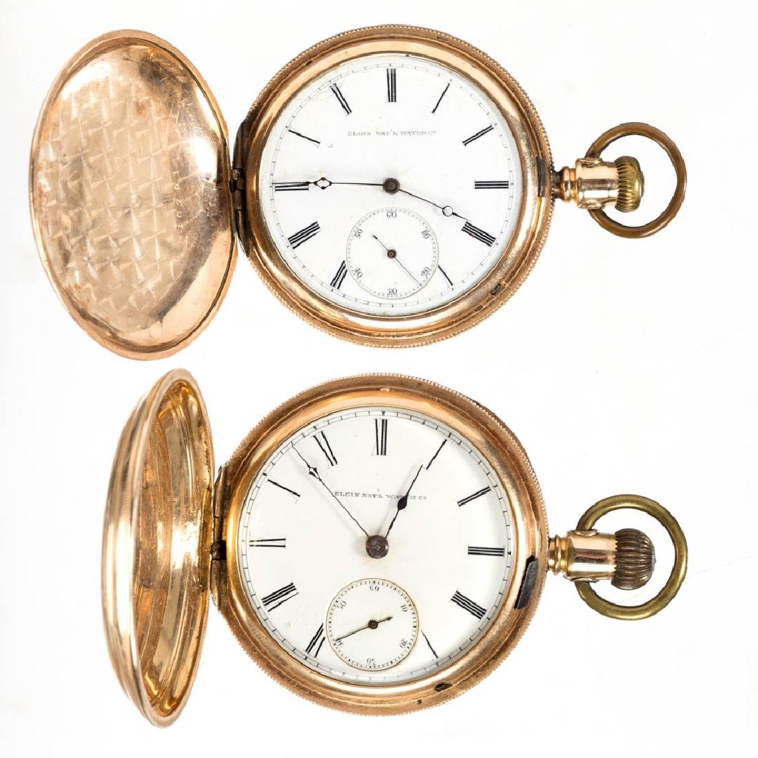 ELGIN HUNTER-CASE MAN'S POCKET WATCHES, LOT OF TWO