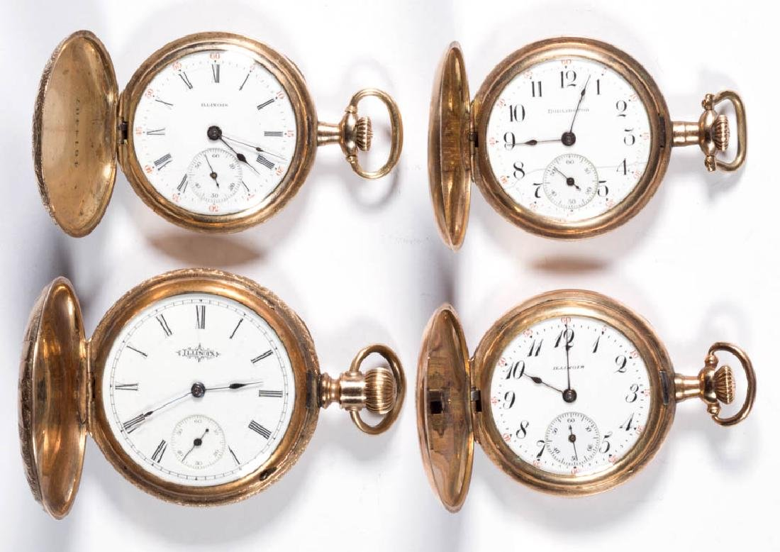 ILLINOIS WATCH CO. POCKET WATCHES, LOT OF FOUR