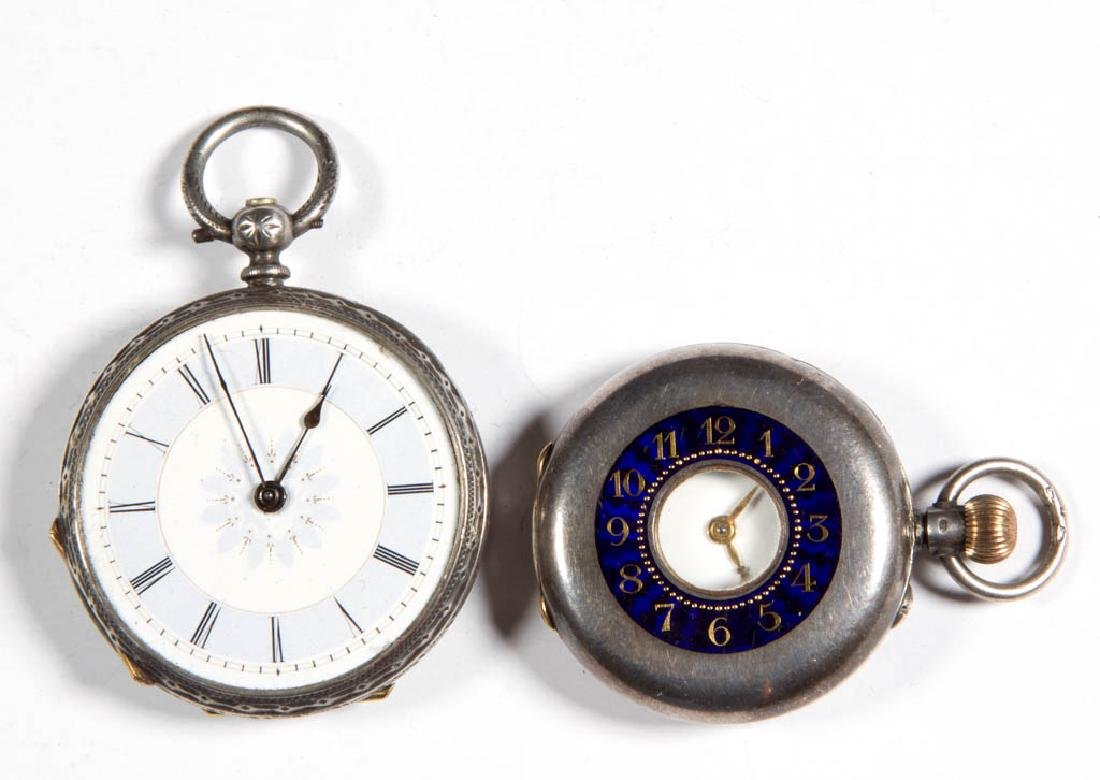CONTINENTAL SILVER CASE POCKET WATCHES, LOT OF TWO