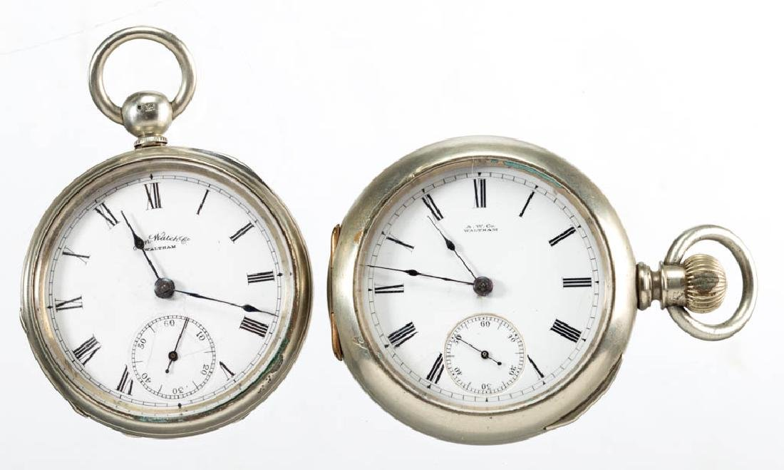 WALTHAM MAN'S KEY-WIND MOVEMENT POCKET WATCHES, LOT OF