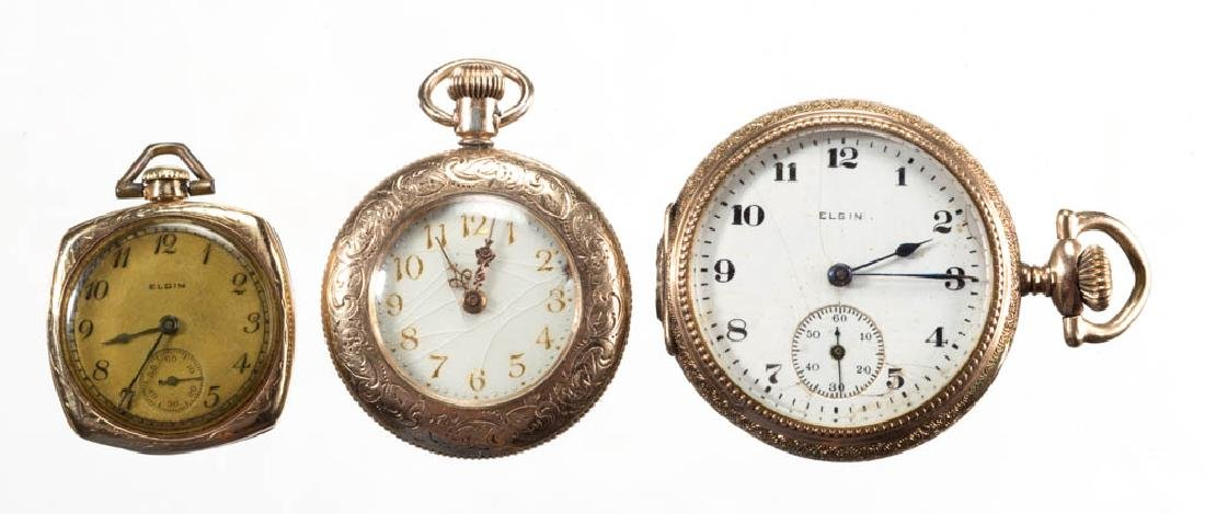 ELGIN 15-JEWEL LADY'S POCKET WATCHES, LOT OF THREE