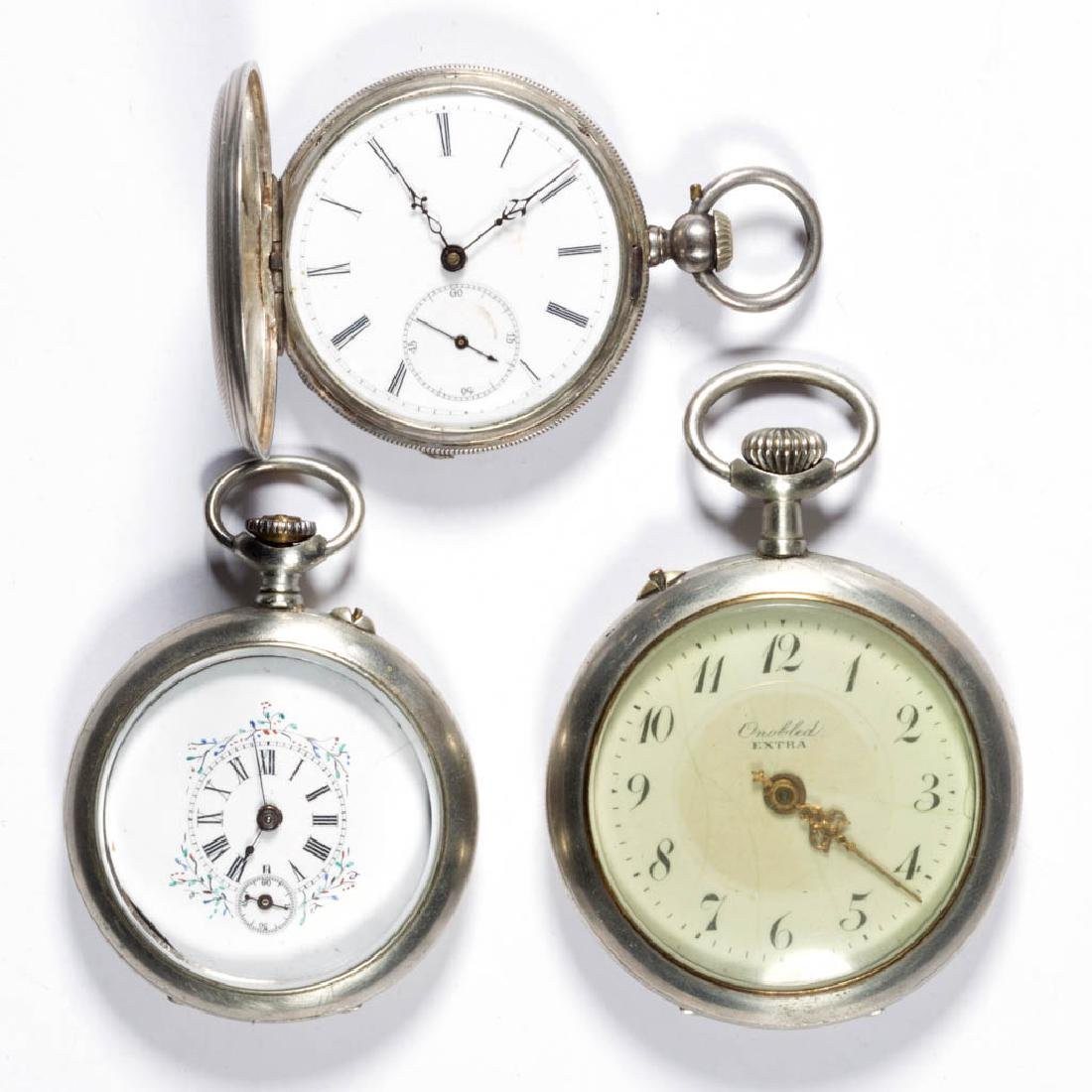 SWISS / CONTINENTAL MAN'S POCKET WATCHES, LOT OF THREE