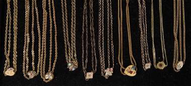 VICTORIAN GOLDFILLED POCKET WATCH CHAINS LOT OF TEN