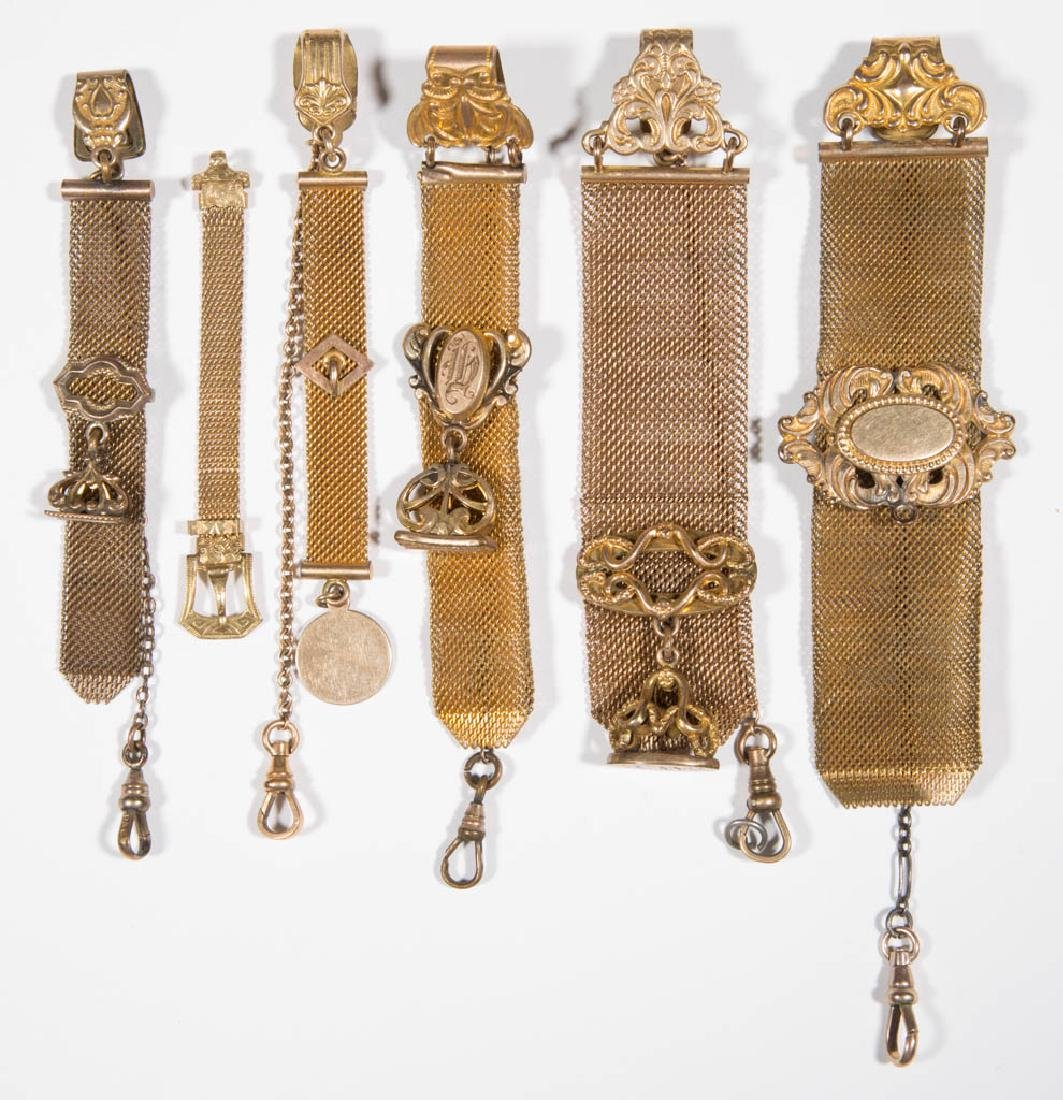 VICTORIAN GOLD-FILLED POCKET WATCH FOBS, LOT OF SIX