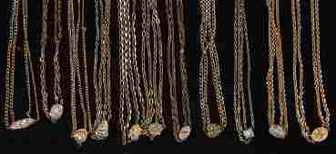 VICTORIAN GOLD-FILLED POCKET WATCH CHAINS, LOT OF 11
