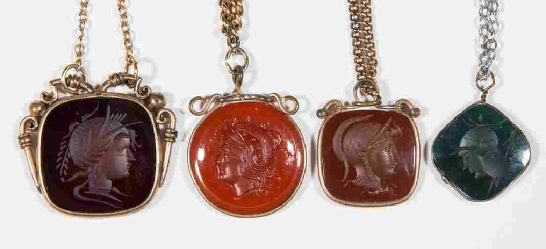VICTORIAN CARVED INTAGLIO WARRIOR HEAD POCKET WATCH