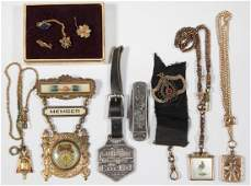ASSORTED VINTAGE POCKET WATCH FOBS AND RELATED