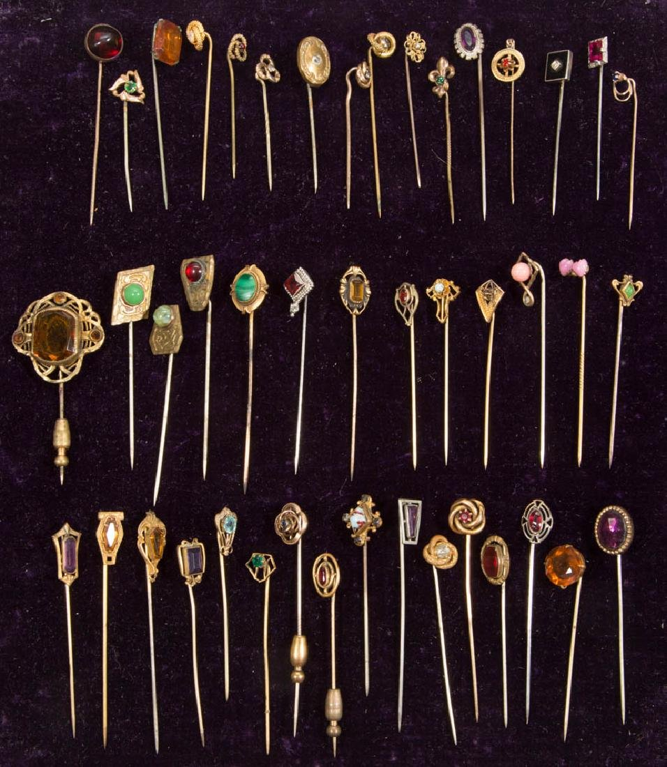 ANTIQUE / VINTAGE RHINESTONE AND GLASS STICK PINS, LOT