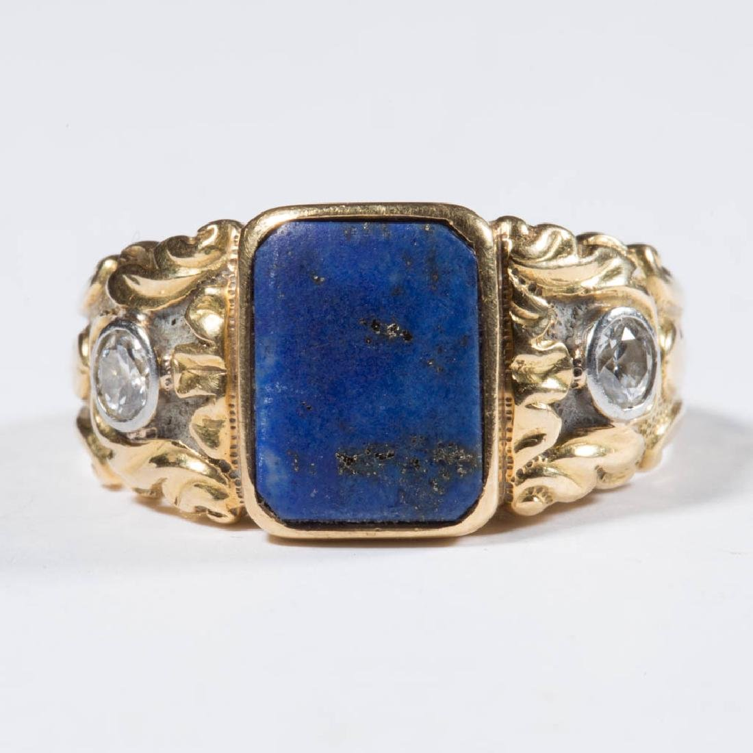 VINTAGE 14K GOLD AND DIAMOND MAN'S RING