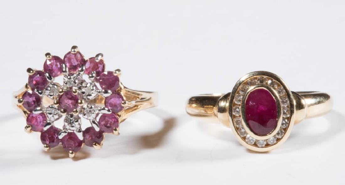 ASSORTED 14K GOLD AND RUBY LADY'S RINGS, LOT OF TWO