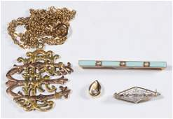 ASSORTED 14K GOLD JEWELRY, LOT OF FOUR PIECES