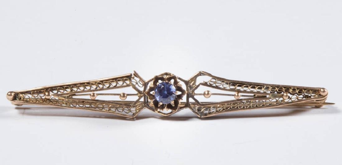 VINTAGE 14K GOLD AND SAPPHIRE BAR PIN