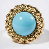 VINTAGE 14K GOLD AND TURQUOISE LADY'S RING