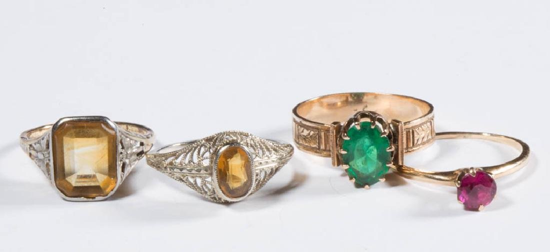 ASSORTED ANTIQUE / VINTAGE 14K GOLD LADY'S RINGS, LOT