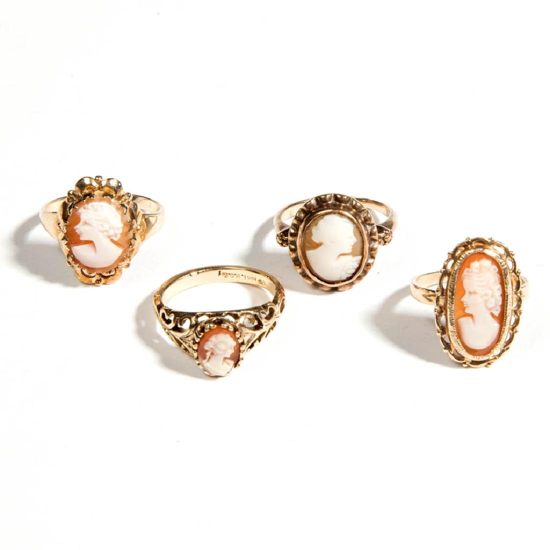 ASSORTED ANTIQUE / VINTAGE 10K GOLD CAMEO RINGS, LOT OF