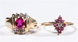 VINTAGE 10K GOLD AND RUBY LADYS RINGS LOT OF TWO