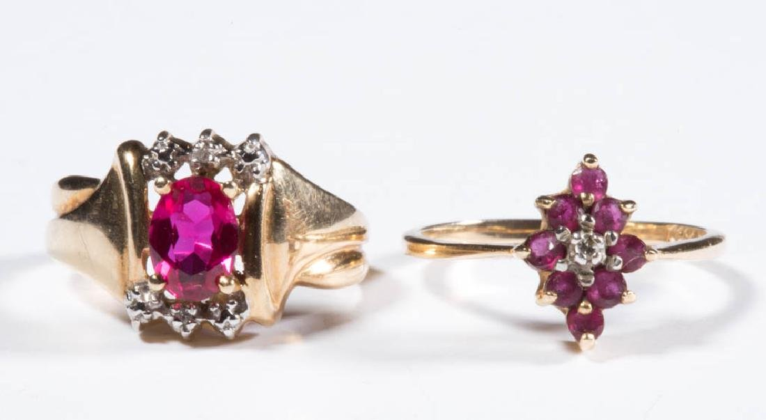 VINTAGE 10K GOLD AND RUBY LADY'S RINGS, LOT OF TWO