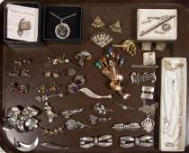 ASSORTED VINTAGE STERLING SILVER COSTUME JEWELRY