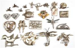 ASSORTED ANTIQUE  VINTAGE SILVER COSTUME JEWELRY LOT