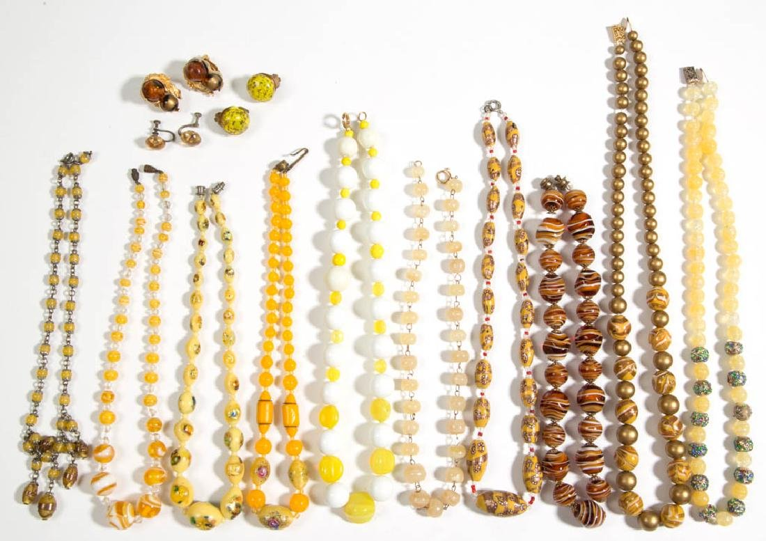 ASSORTED ANTIQUE / VINTAGE MOLDED GLASS BEAD COSTUME