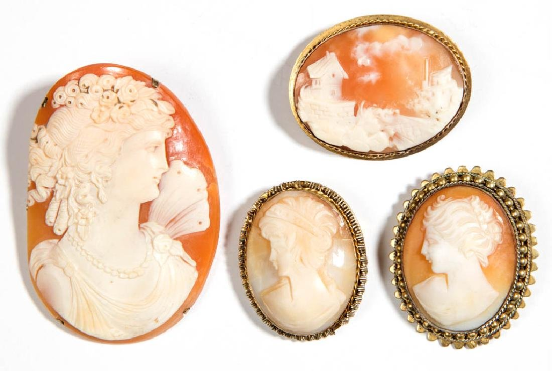 ASSORTED ANTIQUE / VINTAGE CAMEO BROOCHES / PINS, LOT