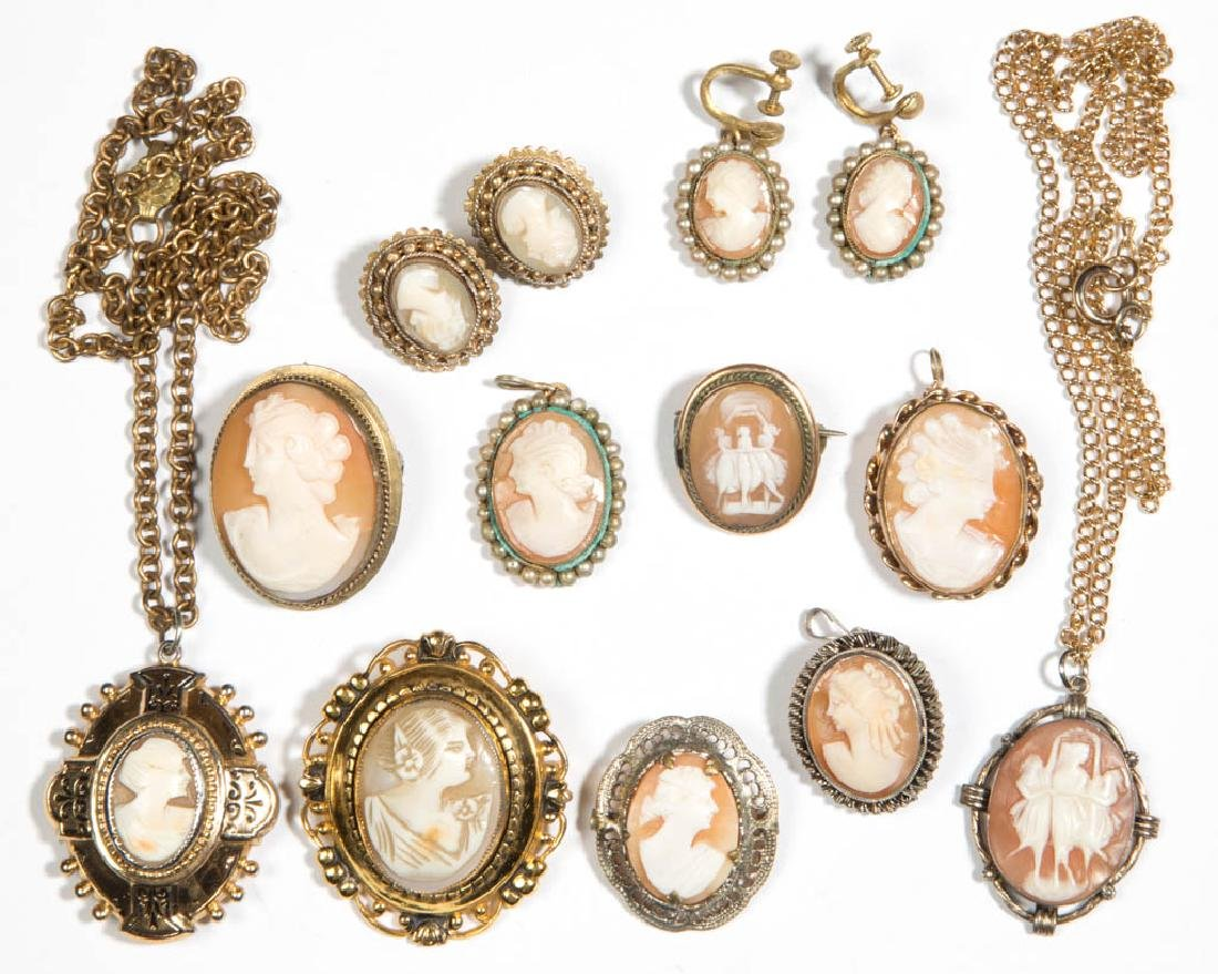 ASSORTED ANTIQUE / VINTAGE CAMEO ARTICLES, LOT OF 13