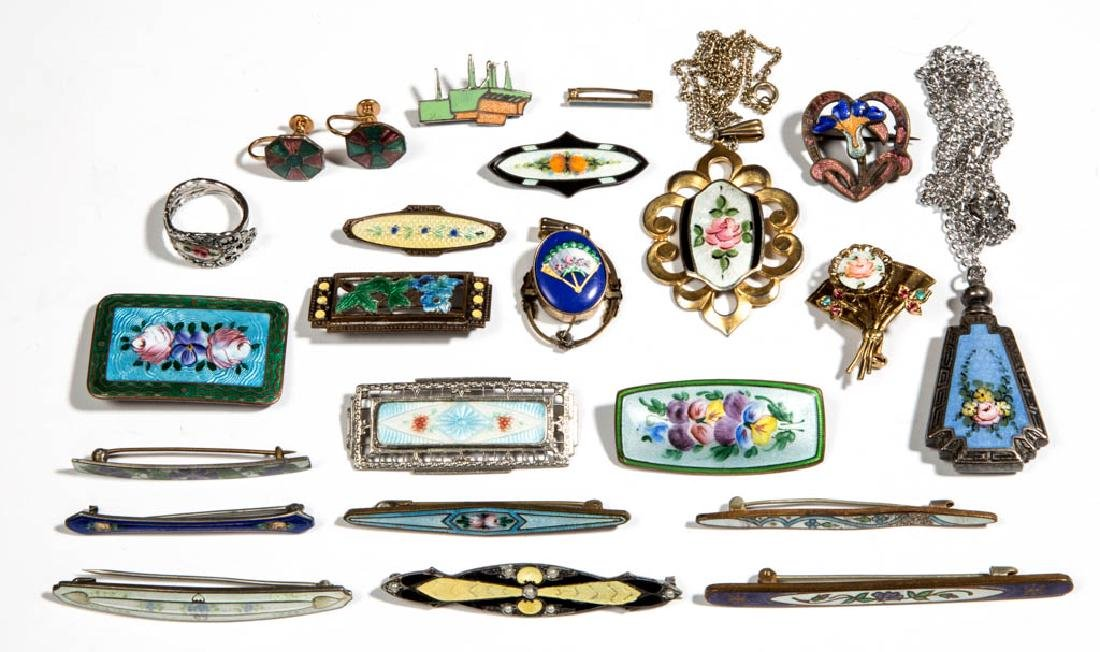 ASSORTED ANTIQUE / VINTAGE COSTUME JEWELRY, LOT OF 23