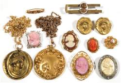ASSORTED ANTIQUE  VINTAGE COSTUME JEWELRY LOT OF 12