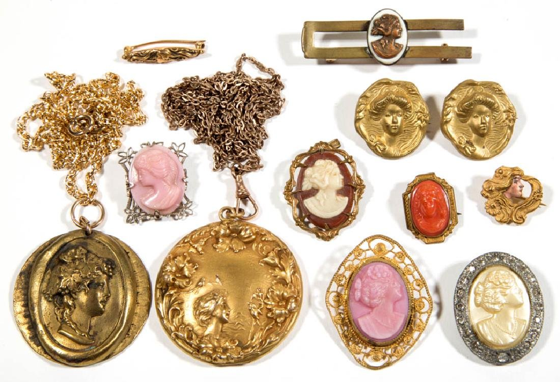 ASSORTED ANTIQUE / VINTAGE COSTUME JEWELRY, LOT OF 12