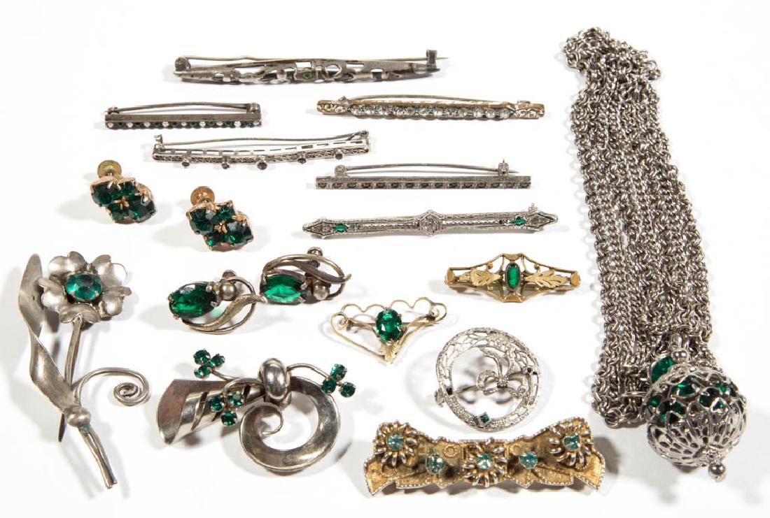 ASSORTED ANTIQUE / VINTAGE RHINESTONE COSTUME JEWELRY,
