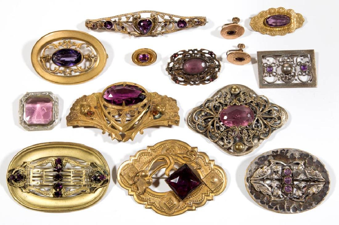 ASSORTED ANTIQUE / VINTAGE COSTUME JEWELRY, LOT OF 14