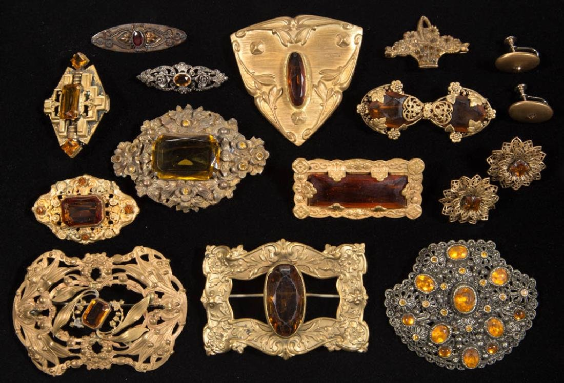 ASSORTED ANTIQUE / VINTAGE COSTUME JEWELRY, LOT OF 16