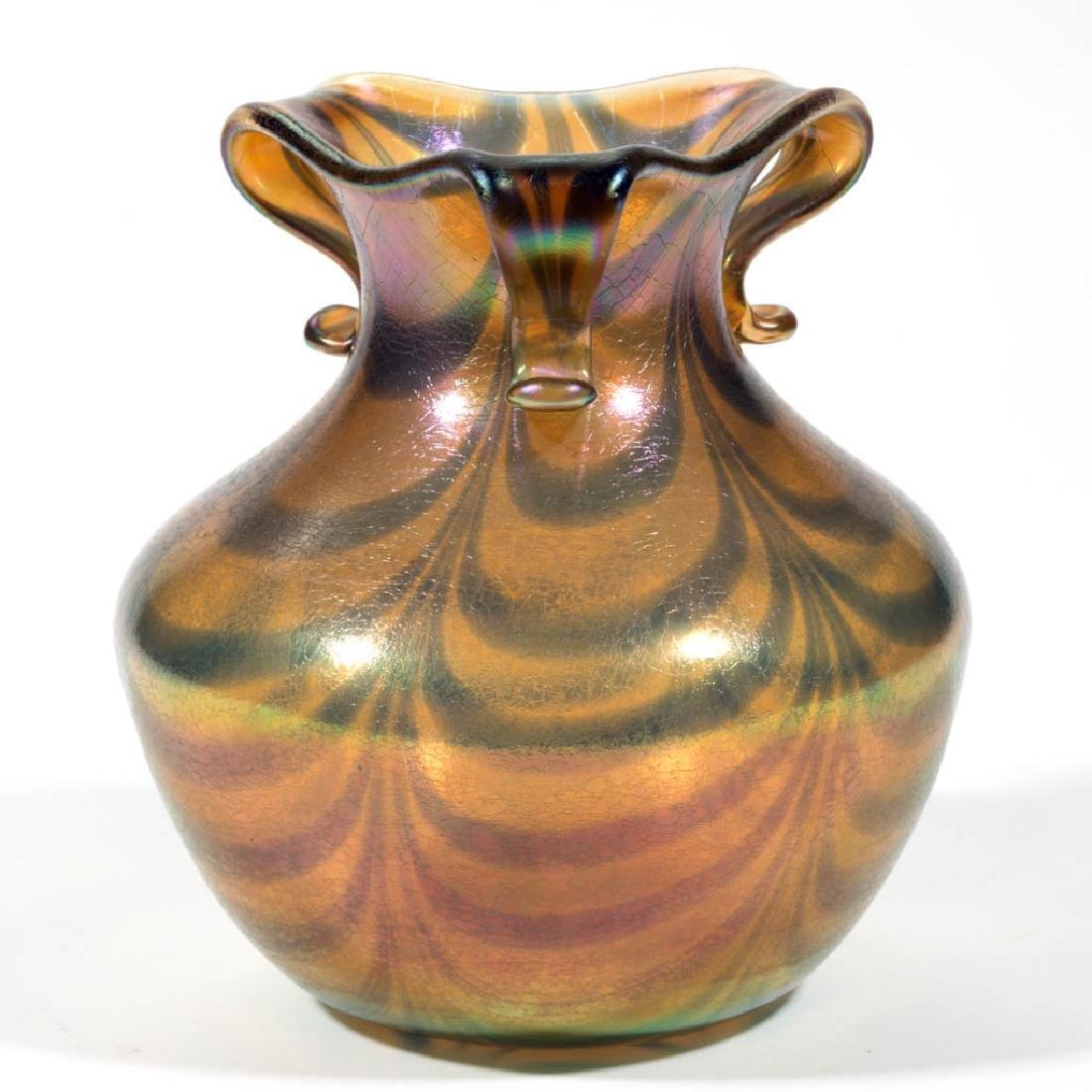 IMPERIAL FREE HAND LOOP ART GLASS VASE - 2