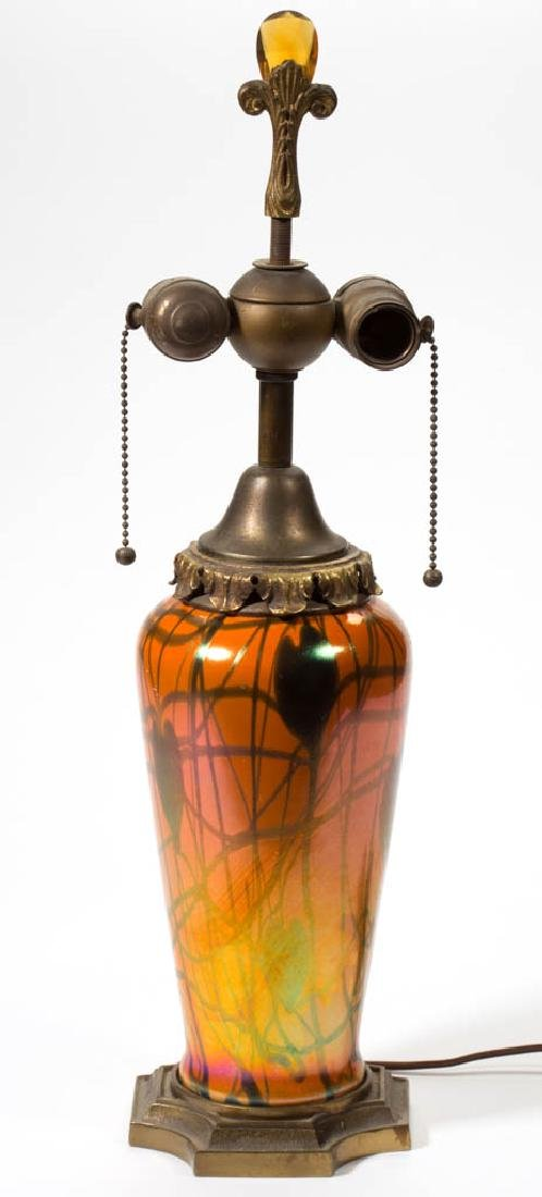 IMPERIAL FREE HAND HEART AND VINE ART GLASS TABLE LAMP