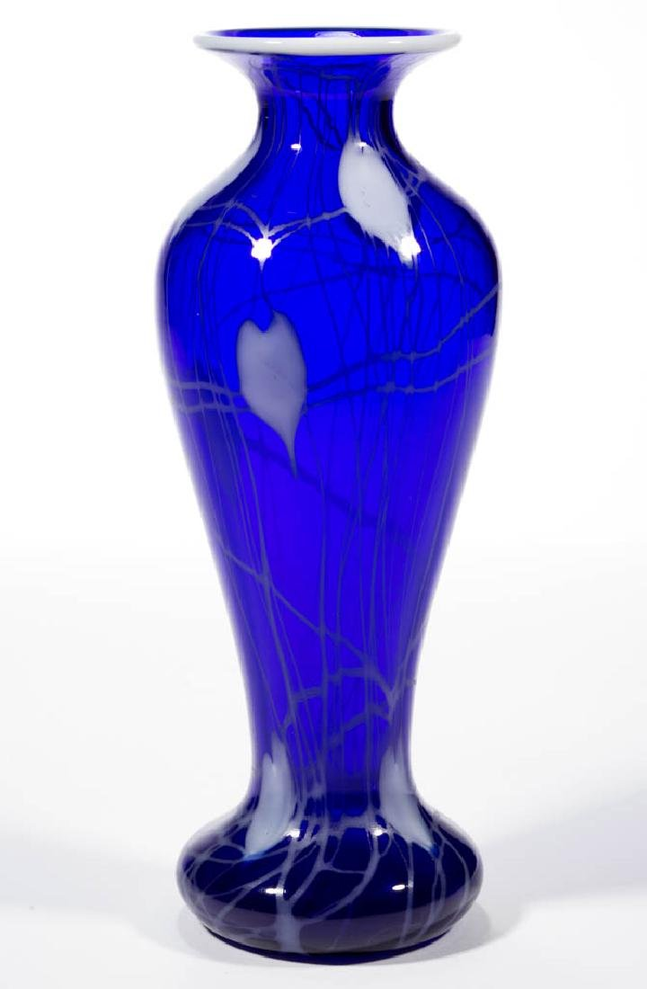 IMPERIAL FREE HAND HEART AND VINE ART GLASS VASE