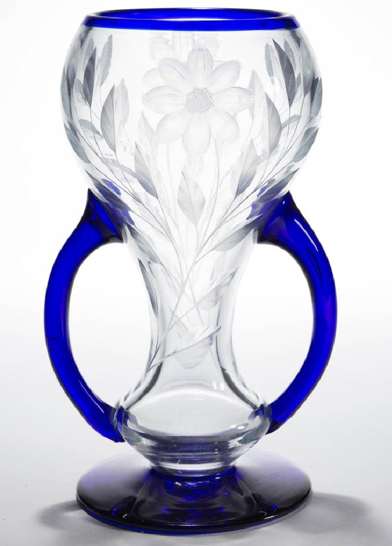 IMPERIAL FREE HAND CUT ART GLASS VASE