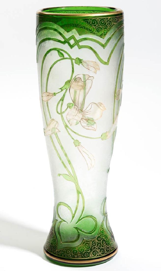 DORFLINGER HONESDALE FLORAL CAMEO ART GLASS VASE