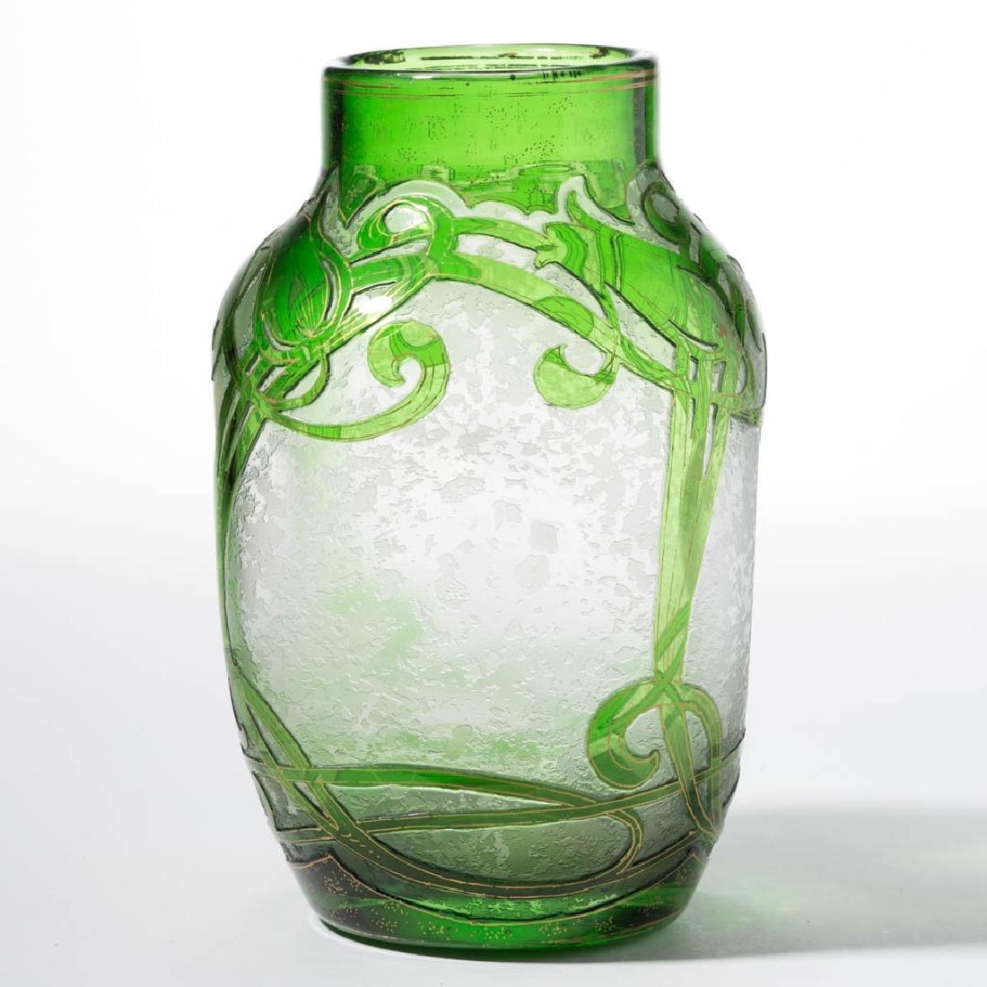 DORFLINGER HONESDALE FLORAL CAMEO ART GLASS VASE - 2