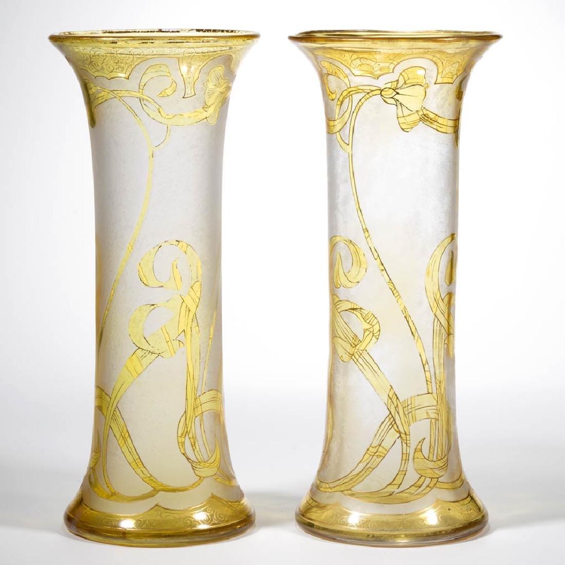 DORFLINGER HONESDALE FLORAL CAMEO ART GLASS PAIR OF - 2