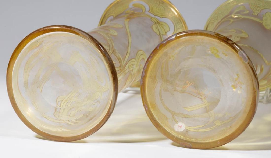 DORFLINGER HONESDALE FLORAL CAMEO ART GLASS PAIR OF - 3