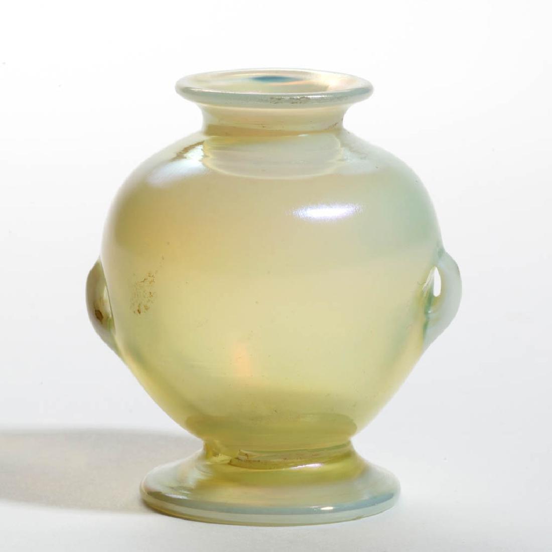 TIFFANY FAVRILE DIMINUTIVE ART GLASS CABINET VASE