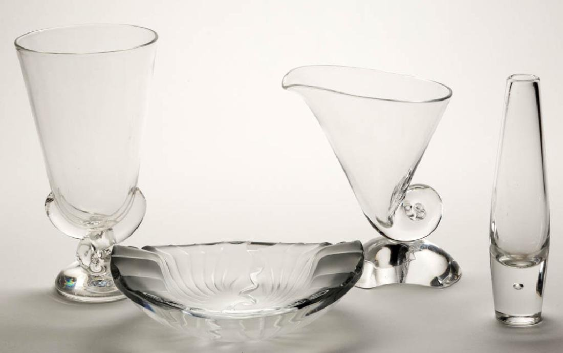 STEUBEN CRYSTAL ART GLASS VASES, LOT OF THREE