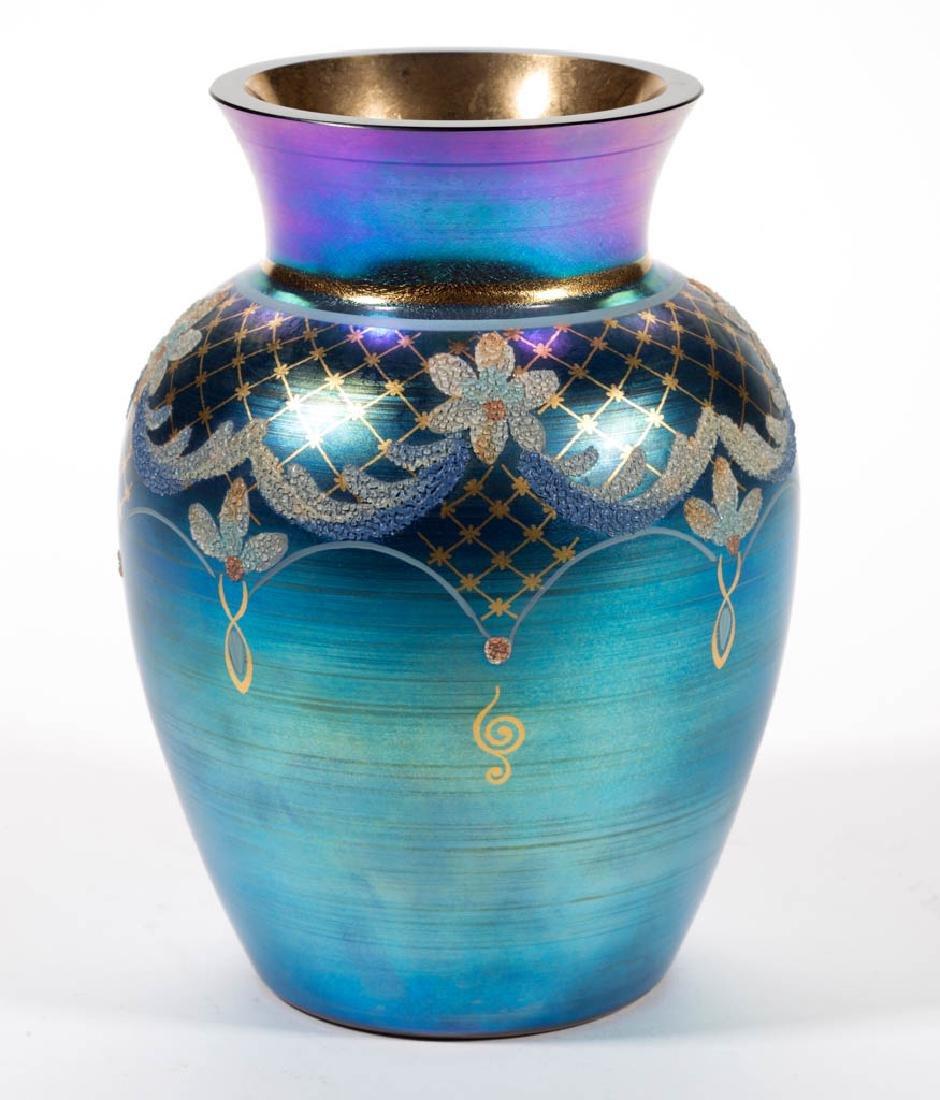 FENTON FAVRENE PAINT-DECORATED ART GLASS VASE