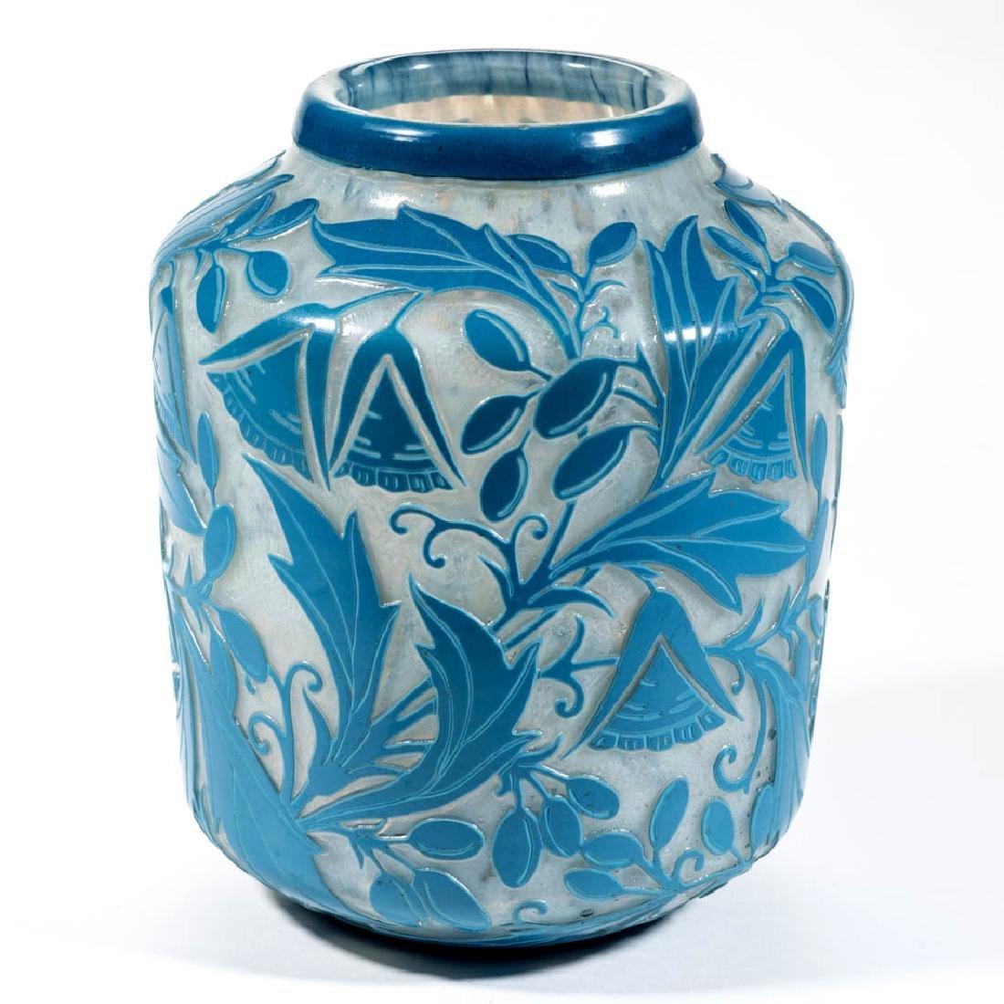 DAUM NANCY FLORAL CAMEO ART GLASS VASE