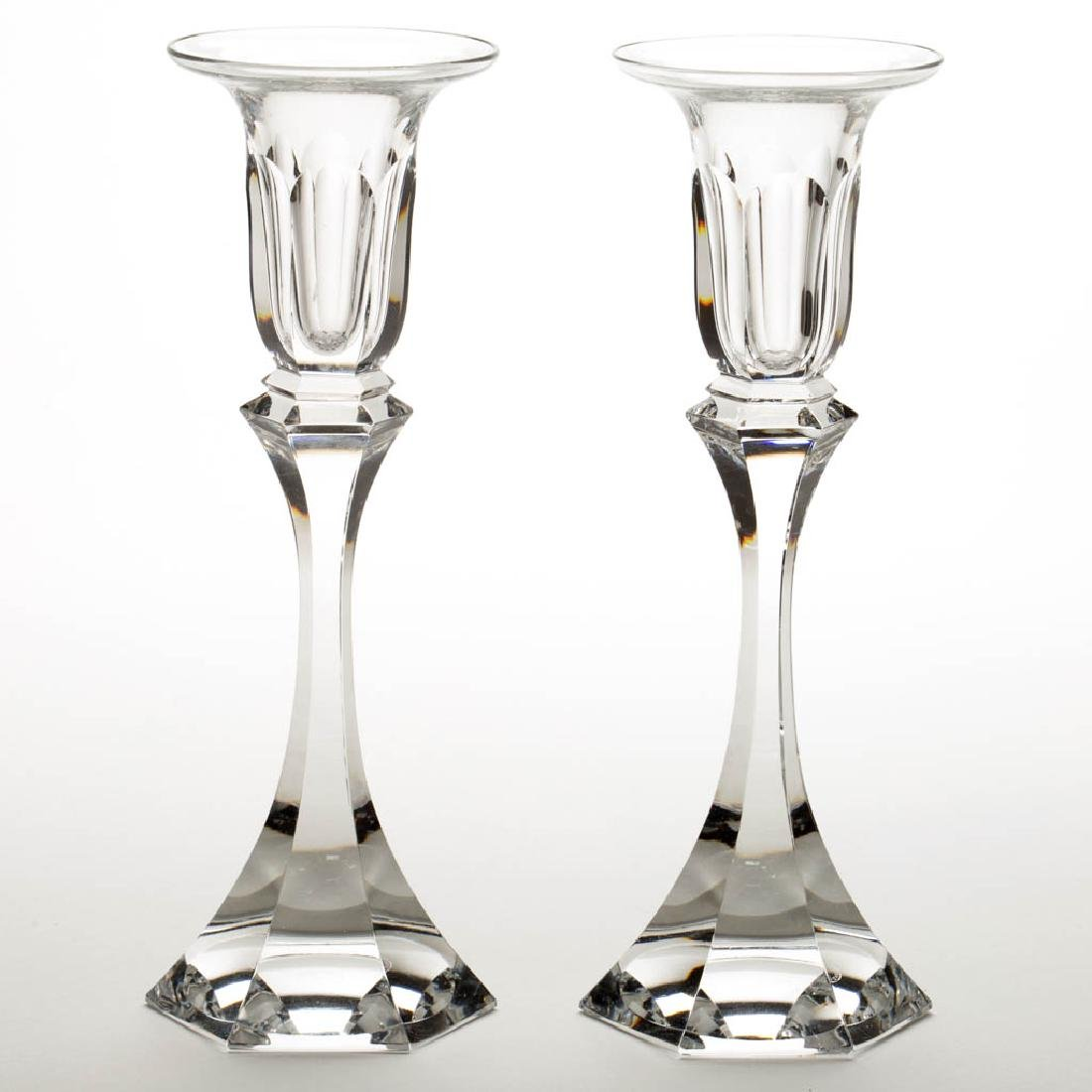 ST. LOUIS CRYSTAL ART GLASS PAIR OF CANDLESTICKS