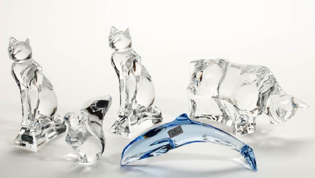 ASSORTED FRENCH CRYSTAL ART GLASS FIGURINES /