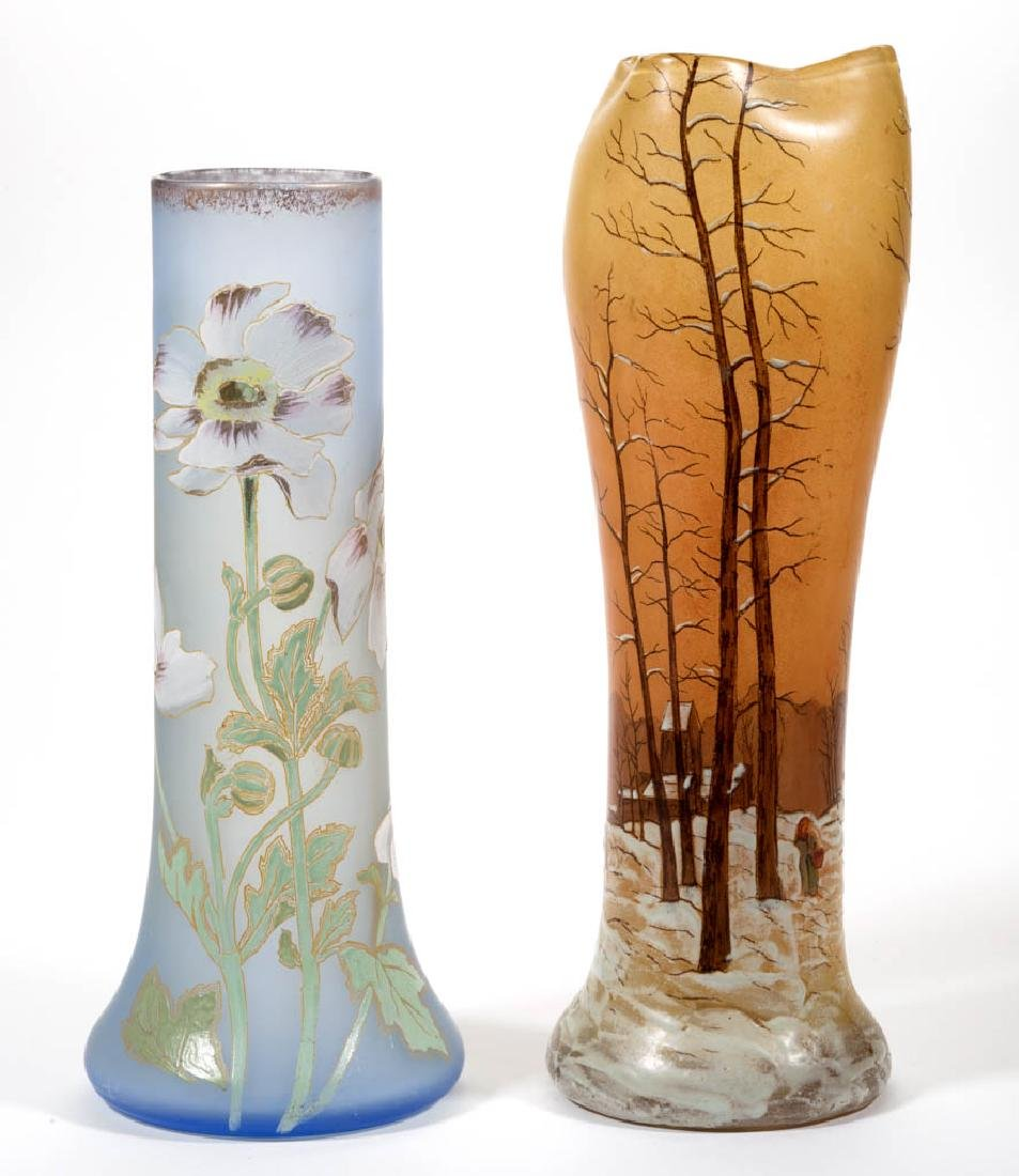 ASSORTED ENAMEL-DECORATED ART GLASS VASES, LOT OF TWO