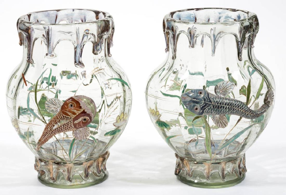 MOSER HIGH-RELIEF ENAMEL-DECORATED ART GLASS PAIR OF