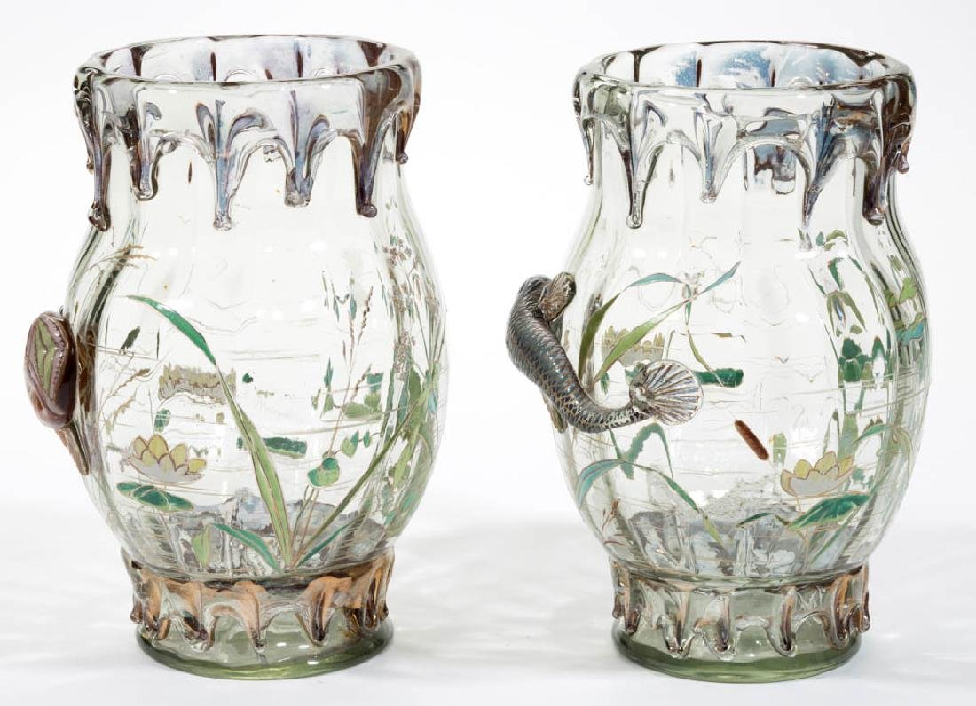 MOSER HIGH-RELIEF ENAMEL-DECORATED ART GLASS PAIR OF - 2