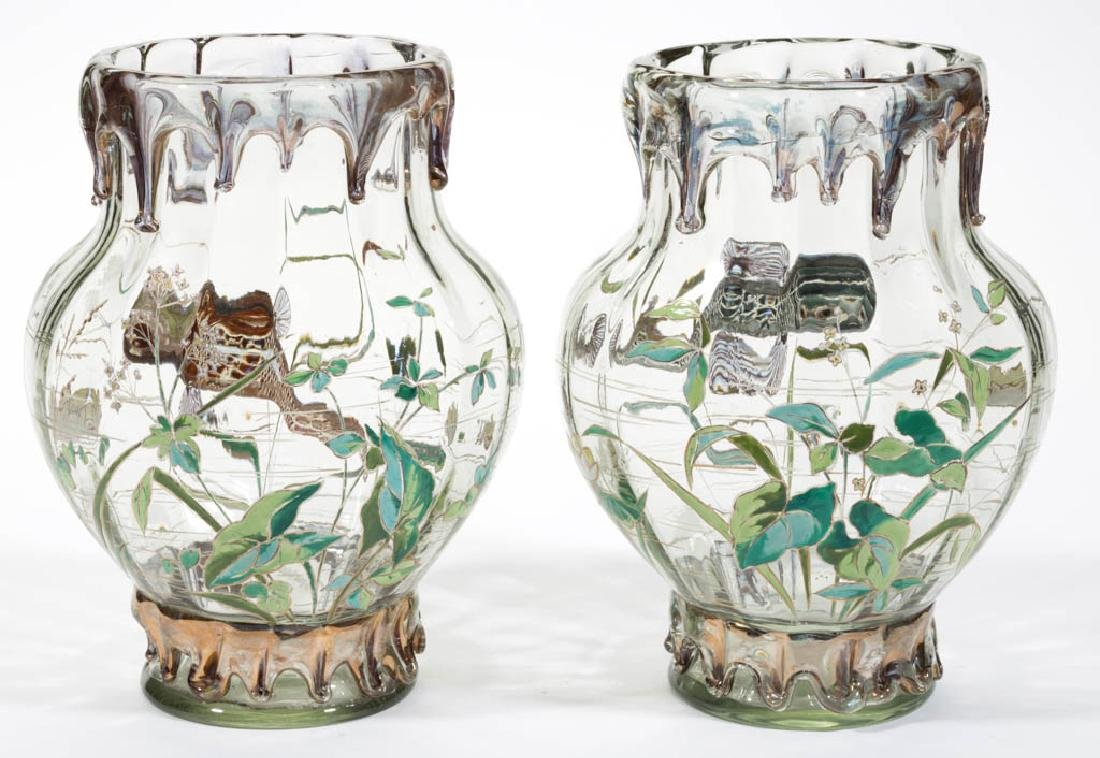 MOSER HIGH-RELIEF ENAMEL-DECORATED ART GLASS PAIR OF - 3